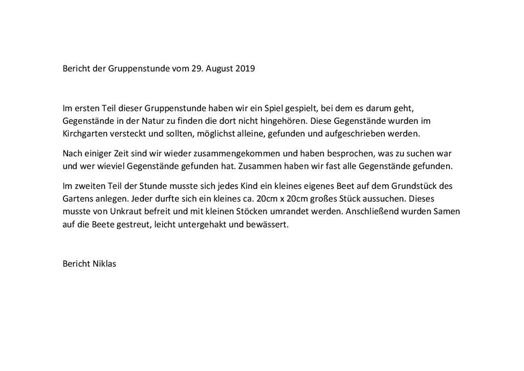 29.08.2019: Bericht Niklas