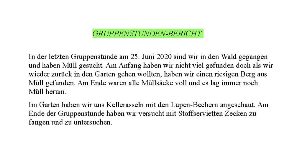 27.07.2020: Bericht Jona